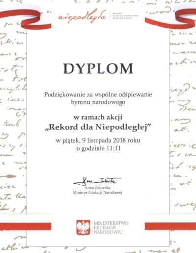 Dyplom - rekord dla niepodleglej