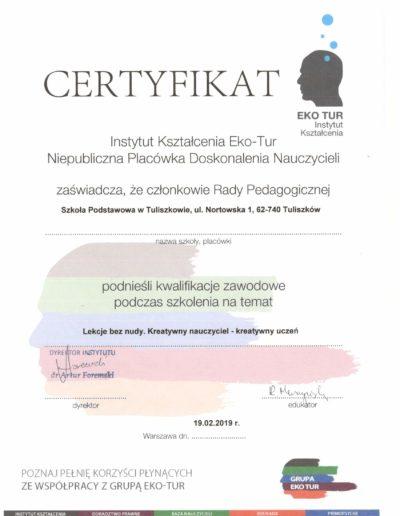 Certyfikat kreatywnosc
