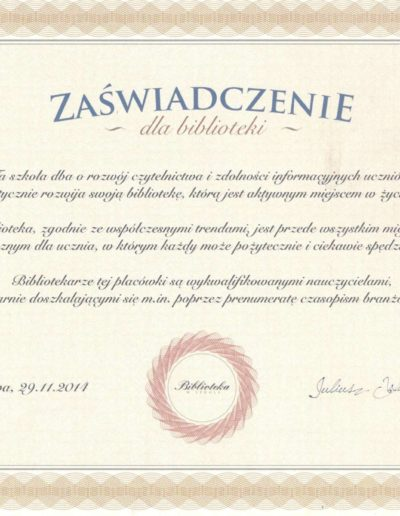 biblioteka-certyfikat
